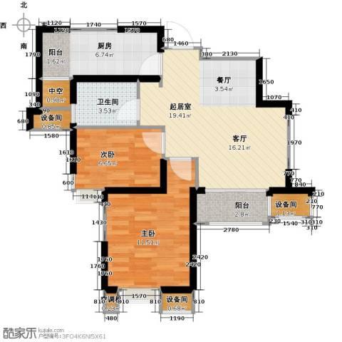 星河荣御2室0厅1卫1厨75.00㎡户型图