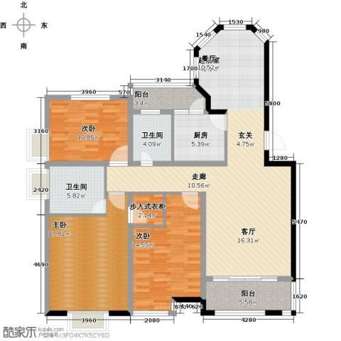 福泰御河湾3室0厅2卫1厨127.00㎡户型图