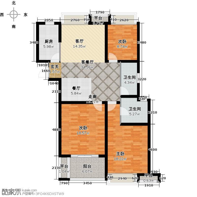 栖霞栖庭119.00㎡B户型(爱奥尼)3室2厅2卫户型3室2厅2卫
