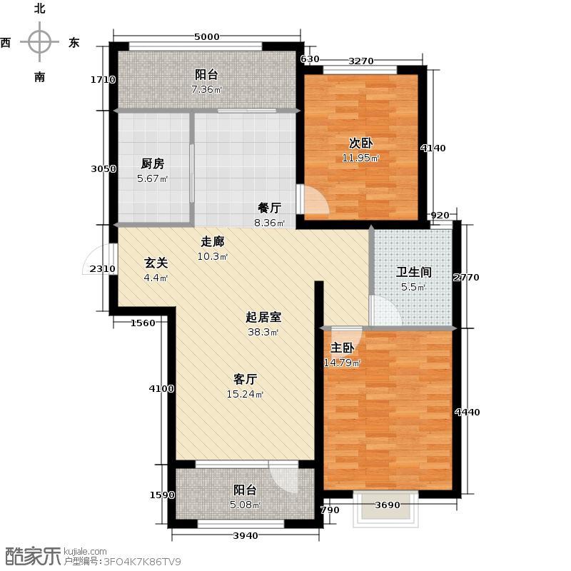 万国园星洲美域100.20㎡11号楼2单元101户型2室2厅1卫
