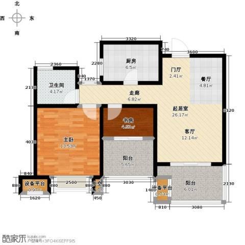 绿地中央广场2室0厅1卫1厨79.00㎡户型图