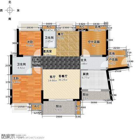 锦地繁花2室1厅2卫1厨111.00㎡户型图