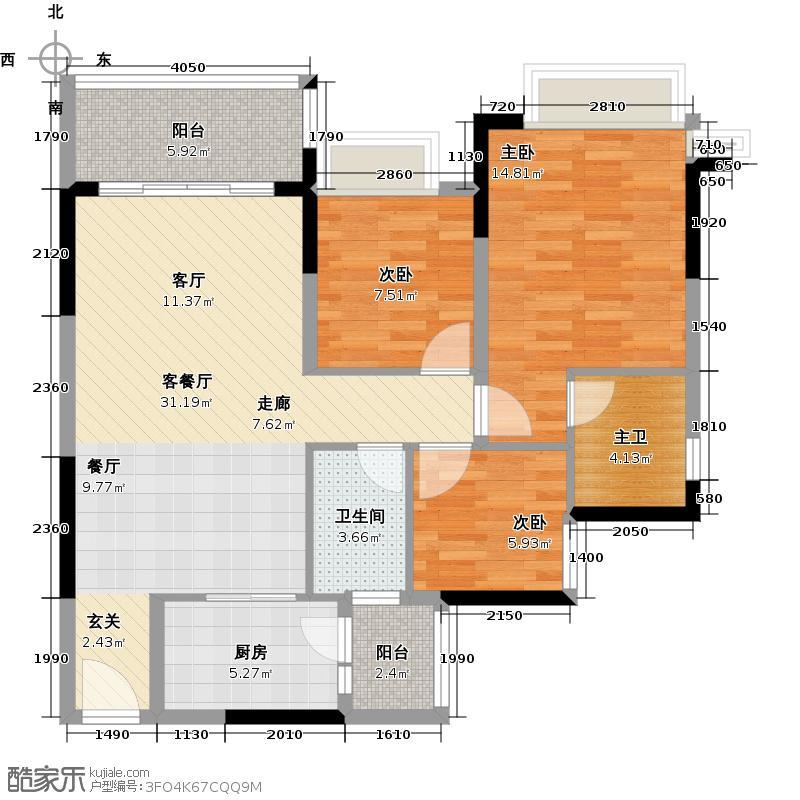 恒大银湖城3栋3-11层02户型3室1厅1卫1厨