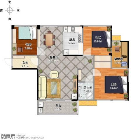 佳美紫郡3室1厅1卫1厨112.00㎡户型图