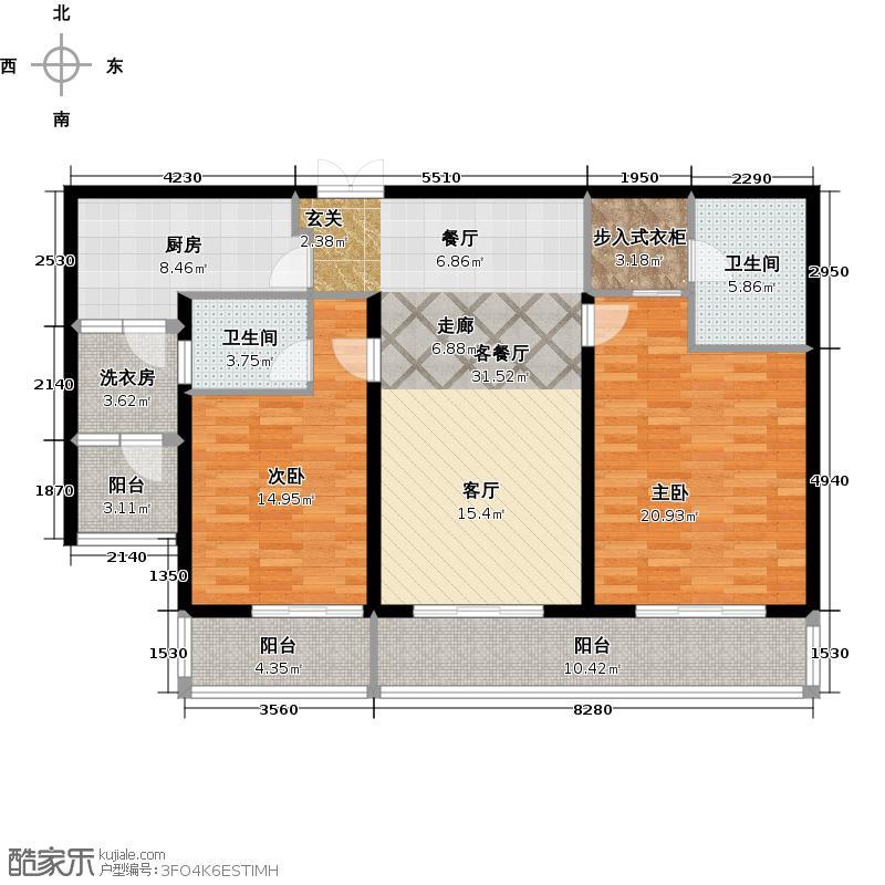 瀚宫135.00㎡135平米户型图户型2室2厅2卫
