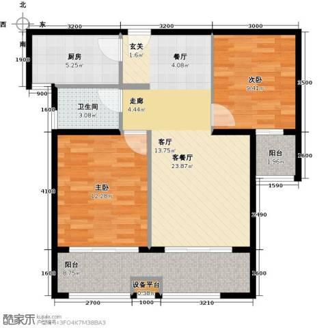 天泰华府2室1厅1卫1厨92.00㎡户型图