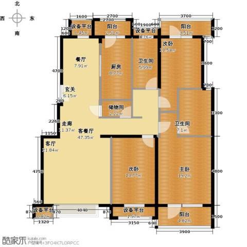 意林小镇3室1厅2卫1厨147.74㎡户型图