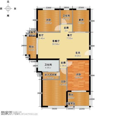 天泰华府3室1厅2卫1厨136.00㎡户型图