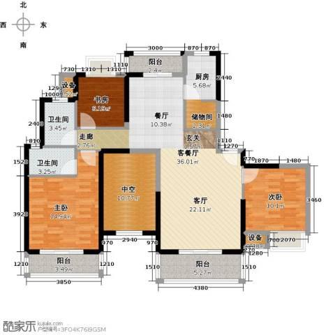 汉南天地3室1厅2卫1厨137.00㎡户型图