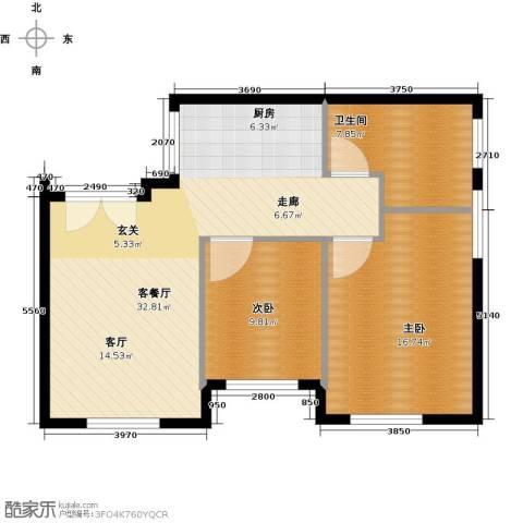 华润紫阳里2室1厅1卫0厨74.00㎡户型图
