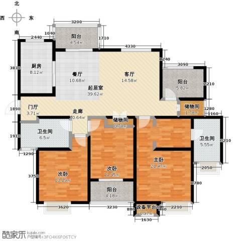 绿地中央广场3室0厅2卫1厨141.00㎡户型图