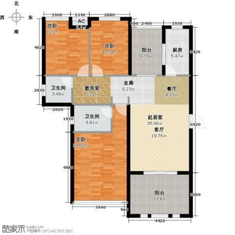 恒信中央公园3室0厅2卫1厨130.00㎡户型图