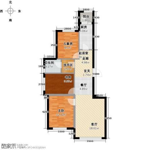 益丰乾城3室0厅1卫1厨95.00㎡户型图