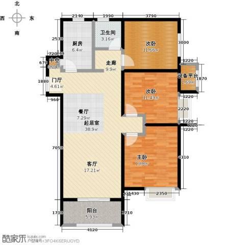 中海8号公馆3室0厅1卫1厨105.00㎡户型图