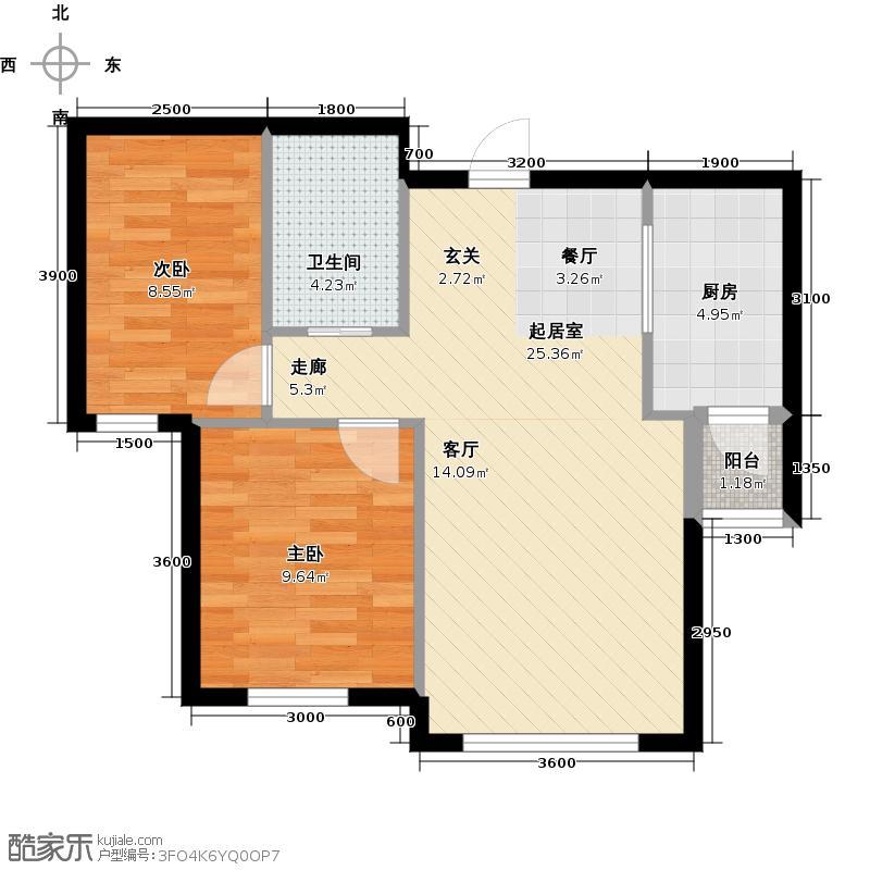 昌临家园77.00㎡两室两厅一卫77平米户型图户型2室2厅1卫