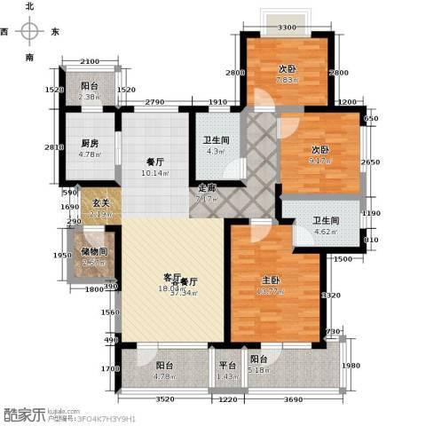 保利达江湾城3室1厅2卫1厨135.00㎡户型图