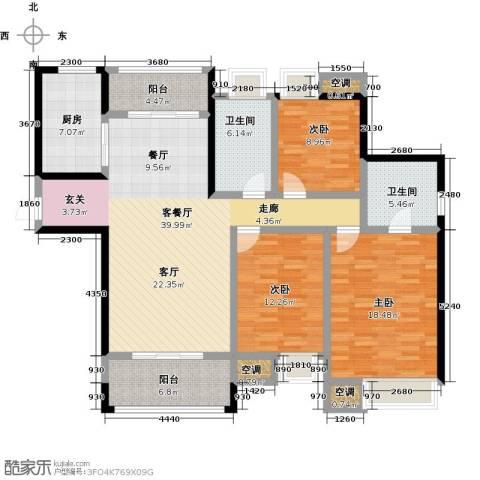 美的翰城3室1厅2卫1厨126.00㎡户型图
