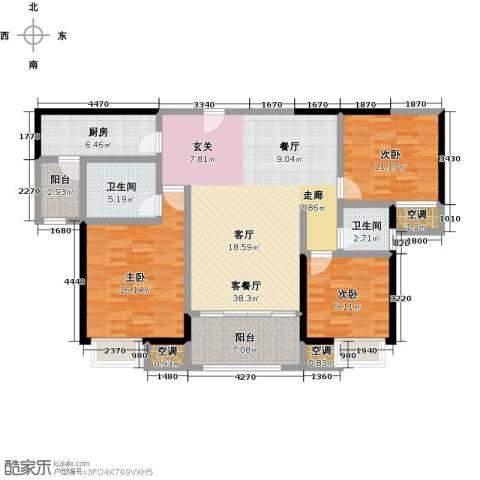 美的翰城3室1厅2卫1厨114.00㎡户型图
