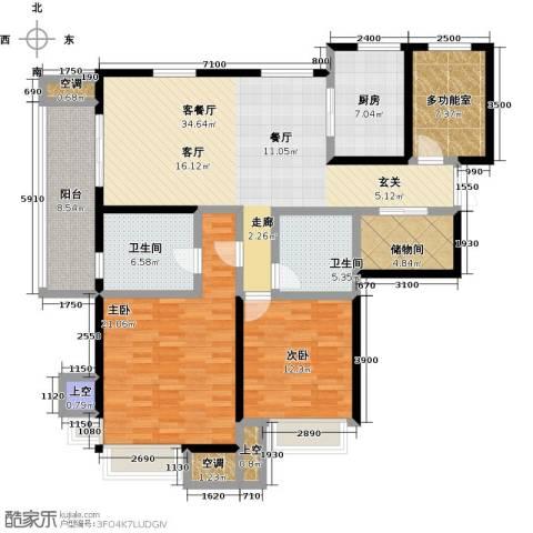 富力十号2室1厅2卫1厨137.00㎡户型图