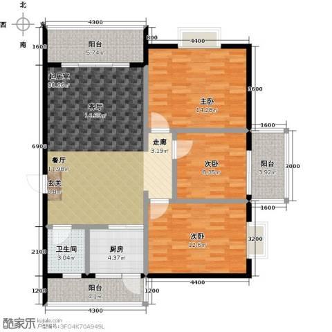 金星阳光格林3室0厅1卫1厨108.00㎡户型图