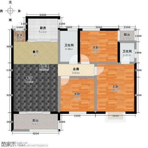 金星阳光格林3室0厅2卫1厨108.00㎡户型图