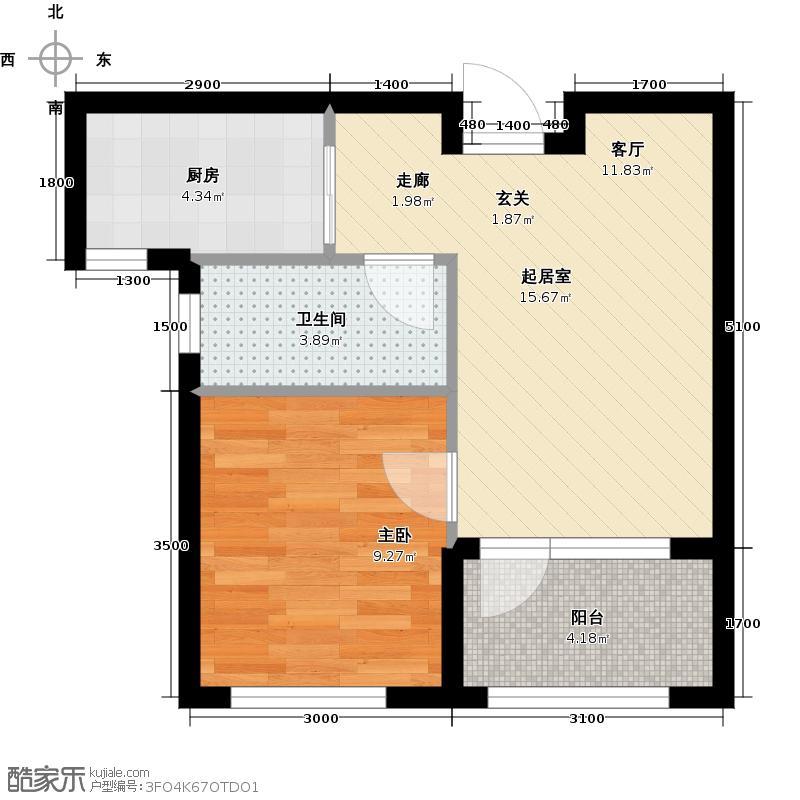 金领地56.81㎡56.81平米一室一厅一厨一卫户型图户型1室1厅1卫