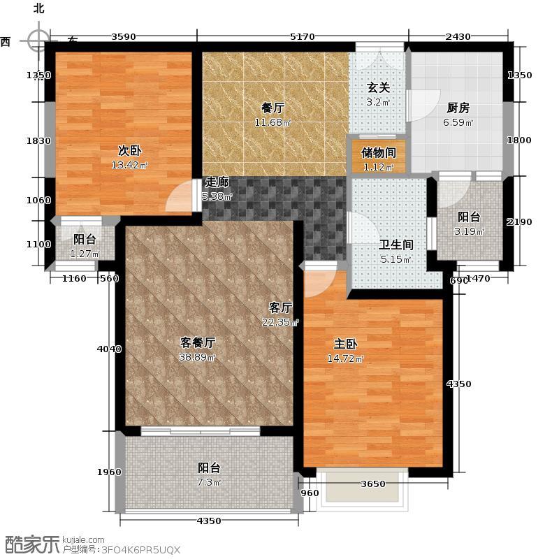 宝宸怡景园9号户型2室1厅1卫1厨