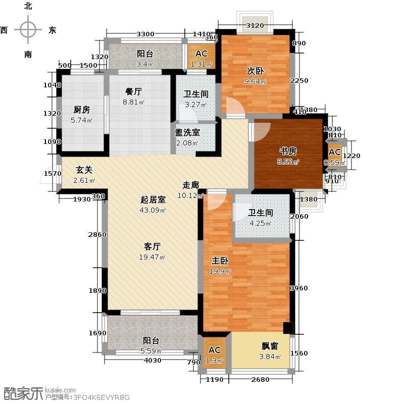 越湖家天下125.00㎡E户型125平米三室两厅两卫户型3室2厅2卫