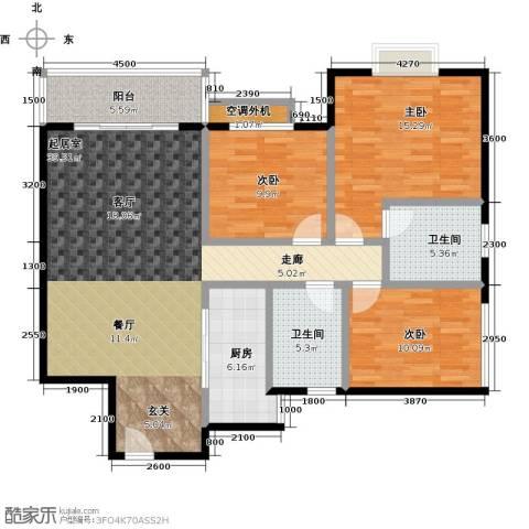 金星阳光格林3室0厅2卫1厨135.00㎡户型图