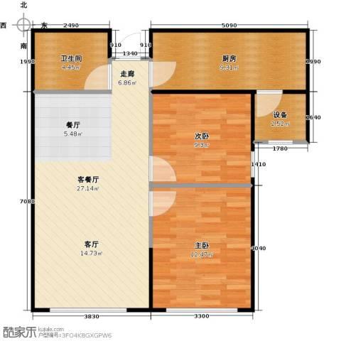 帕克峰景2室1厅1卫1厨75.00㎡户型图