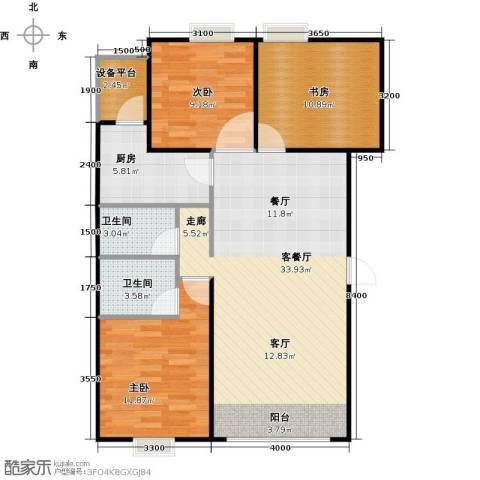 帕克峰景3室1厅2卫1厨95.00㎡户型图