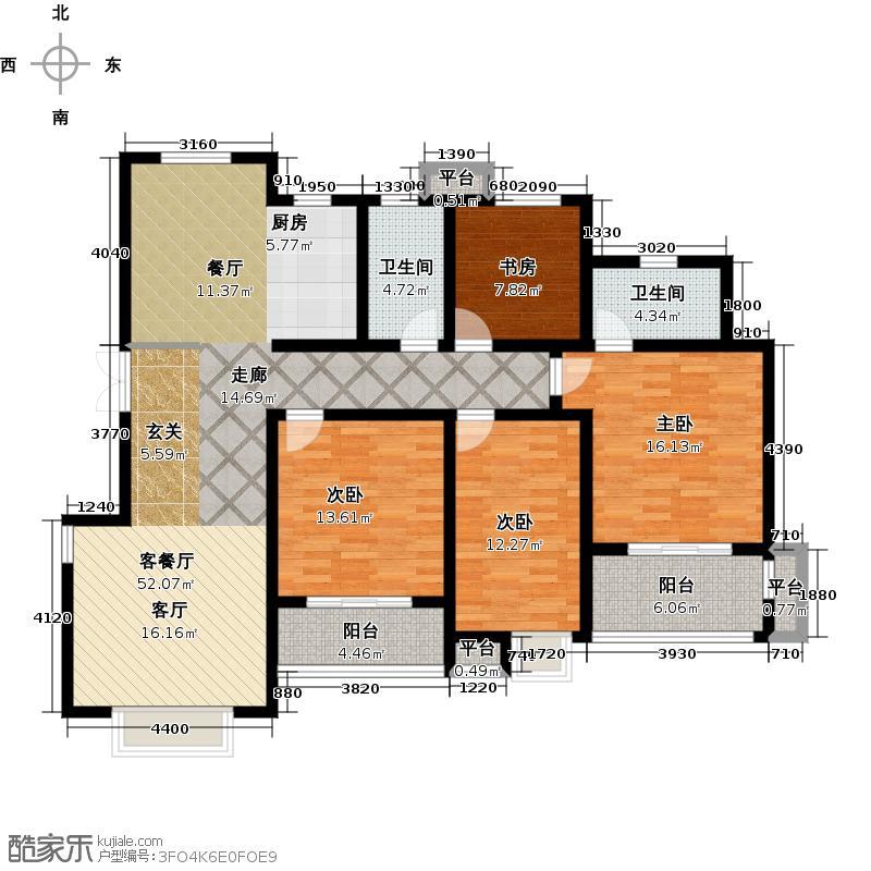 滨江苑150.00㎡11#12#标准层全龄幸福户型4室2厅2卫