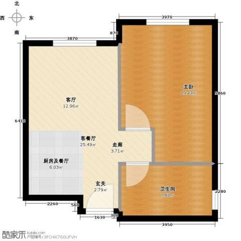 华润紫阳里1室1厅1卫0厨58.00㎡户型图