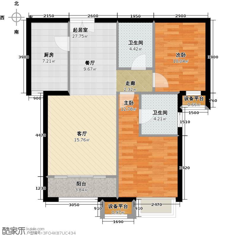 燕京航城102.00㎡B2、B2反户型两室两厅两卫户型