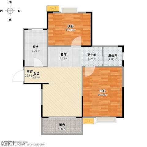 牧龙湖壹号2室1厅1卫1厨89.00㎡户型图