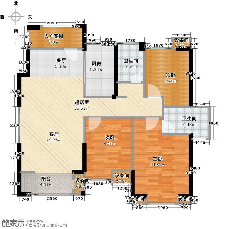 星河荣御110.00㎡C户型三室两厅两卫户型3室2厅2卫