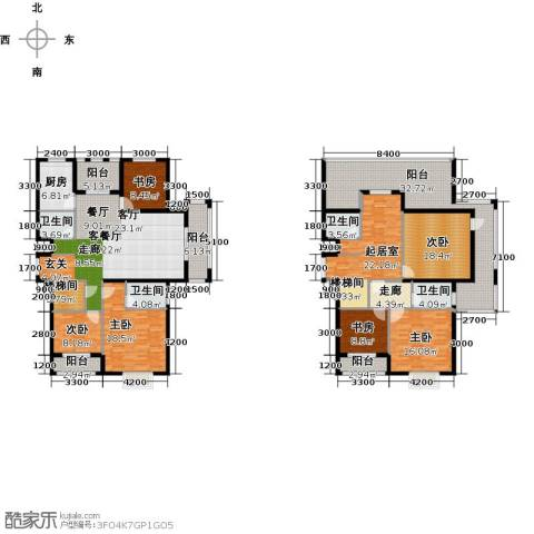 中乐百花公馆6室1厅4卫1厨314.00㎡户型图