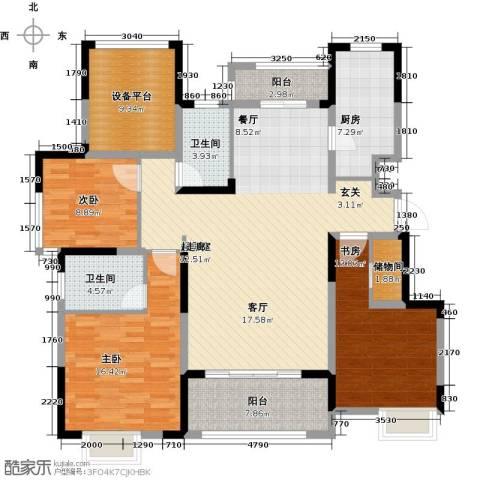 可逸兰亭3室0厅2卫1厨128.00㎡户型图