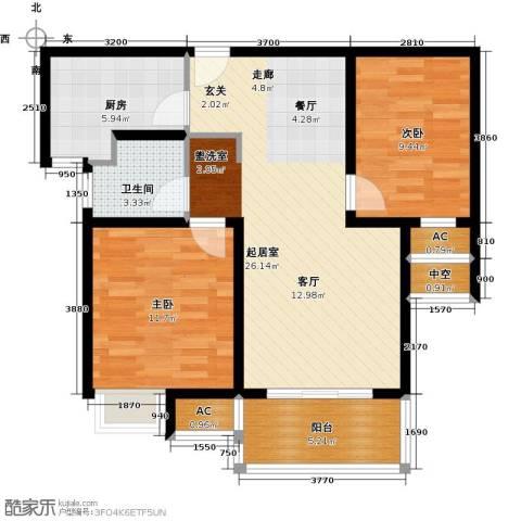 越湖家天下2室0厅1卫1厨74.61㎡户型图