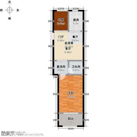 中南唐山湾2室0厅1卫1厨66.00㎡户型图
