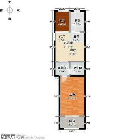 中南唐山湾2室0厅1卫1厨60.00㎡户型图