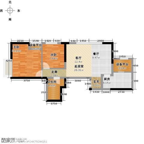 金融街和平中心2室0厅1卫1厨93.00㎡户型图