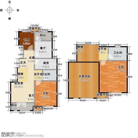 万科魅力之城三期3室1厅2卫1厨121.00㎡户型图