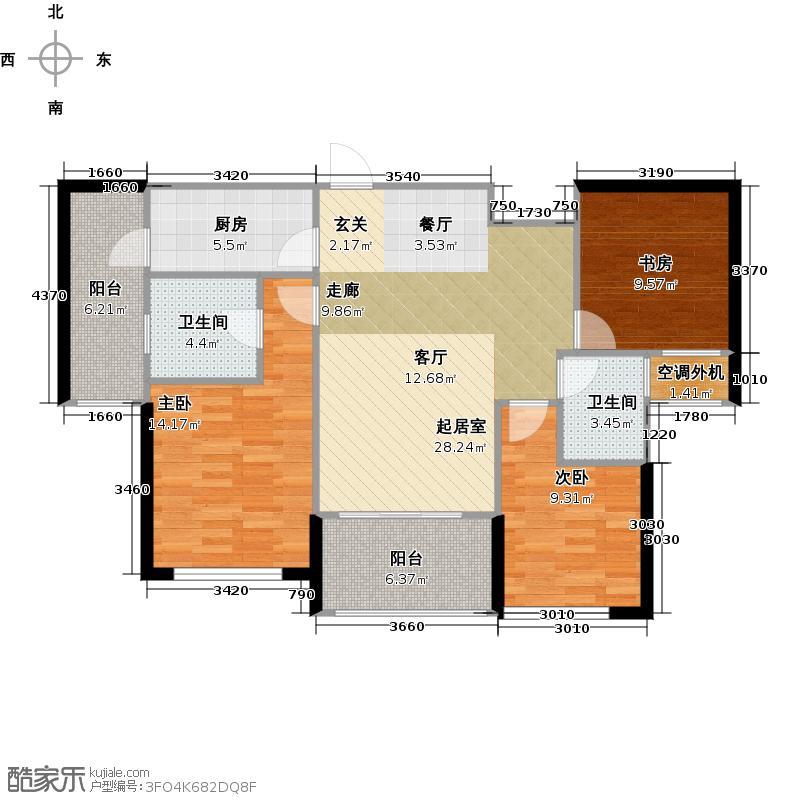 金辉融侨城97.88㎡C2户型(改造后)三室两厅两卫户型3室2厅2卫