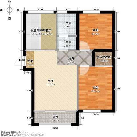 知润山2室1厅2卫0厨72.00㎡户型图