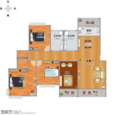 中海湖滨一号4室1厅2卫1厨222.00㎡户型图