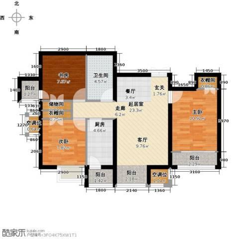学府・未来城3室0厅1卫1厨100.00㎡户型图