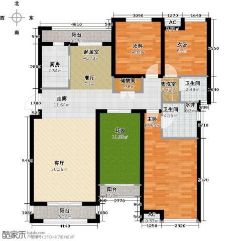 恒信中央公园3室0厅2卫1厨132.00㎡户型图
