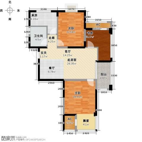 越湖家天下3室0厅1卫1厨96.70㎡户型图