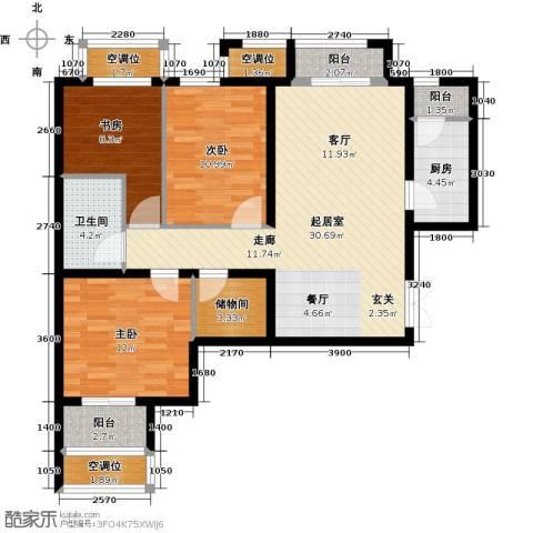 学府・未来城3室0厅1卫1厨124.00㎡户型图